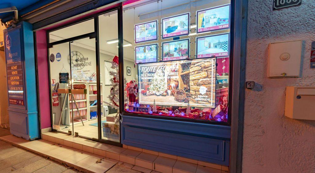Pixel Impact Affichage dynamique écran vitrine digitale Agence immobilière Immogene